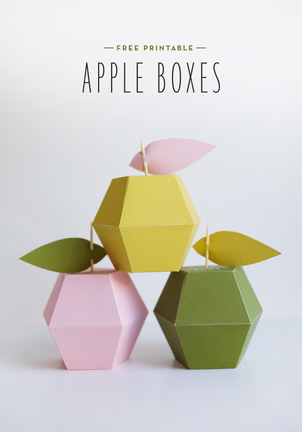 DIY Free printable apple boxes by ohhappyday