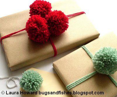 DIY pompom gift wrap by bugsandfishes